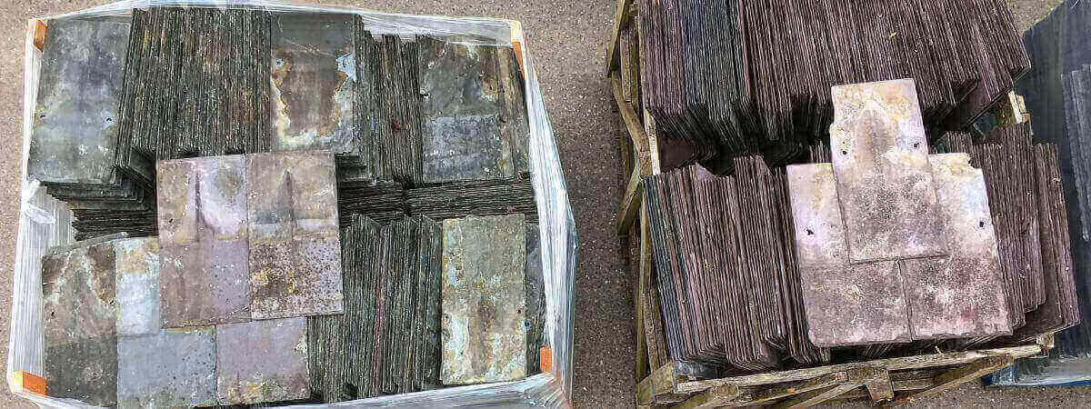 Packaged reclaimed slate and tiles